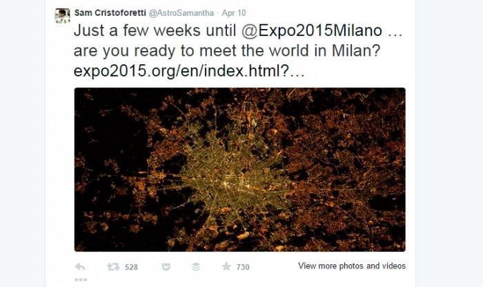 Samantha Cristoforetti tweet su expo 2015