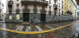 l'agenzia Frigerio devastata dai black bloc