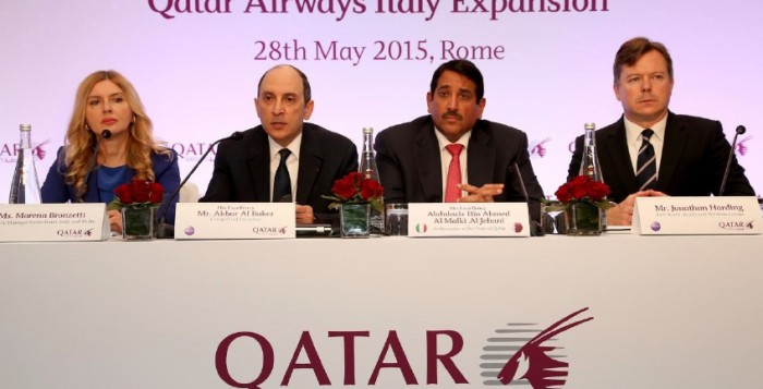 La conferenza stampa di Qatar Airways