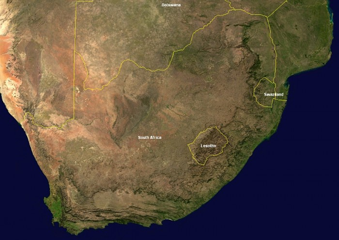 Sudafrica dal satellite. Credits: Nasa from Wikipedia.org