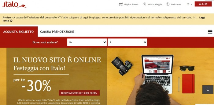 nuovo sito italo treno ntv