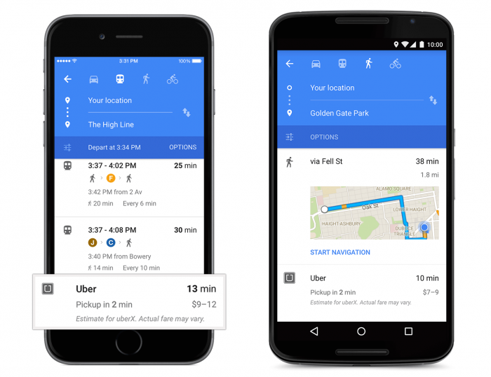 Uber su Google Maps