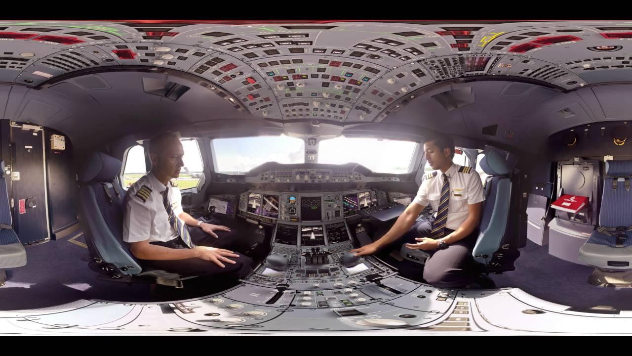 Emirates come piloti con il video a 360 della cabina for Planimetrie della cabina di log