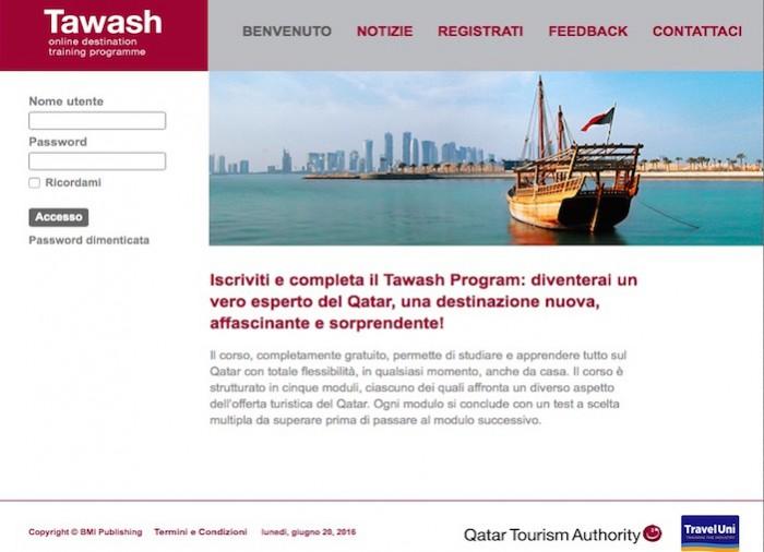La home di Tawash, il programma di formazione online di Qatar Tourism Authority