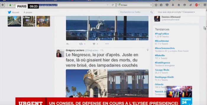 France 24 trasmette in diretta, anche sul web, gli aggiornamenti sull'attacco a Nizza