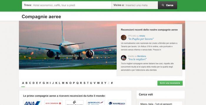 TripAdvisor lancia la nuova piattaforma di recensioni delle linee aeree