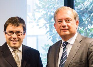 Da sinistra, Nicolas Notebaert, ceo VINCI Concessions e chairman VINCI Airport, e Dave Bakker, presidente SITA Europa