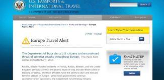 L'alert sul sito del Dipartimento di Stato Usa