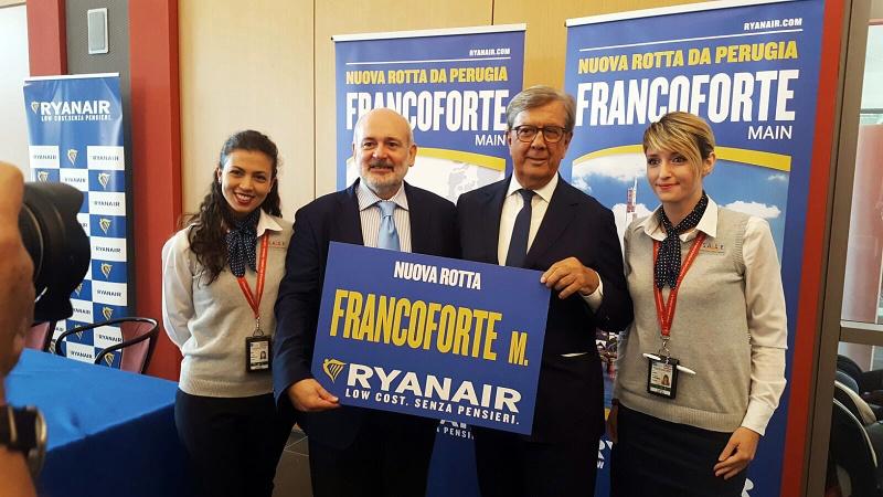 Ryanair: 2 volte a settimana voli Perugia-Francoforte