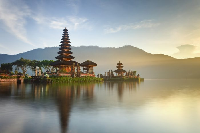 Pura Ulun Danu hindu temple on lake Beratan, Bali, Indonesia
